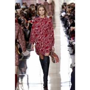 Tory Burch Cora Red Floral Printed Dress